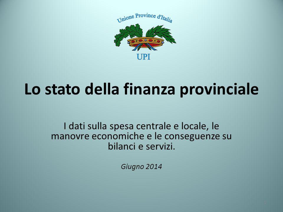 La spesa pubblica italiana, è rappresentata per quasi il 70% da spesa centrale, comprese le prestazioni sociali e gli interessi sul debito, mentre Regioni (inclusa sanità) Province e Comuni rappresentano insieme il 30% Le Province rappresentano l'1,3% della spesa pubblica, i Comuni l'8,6% mentre le Regioni, compresa la spesa per la sanità, sono il 20,5%.