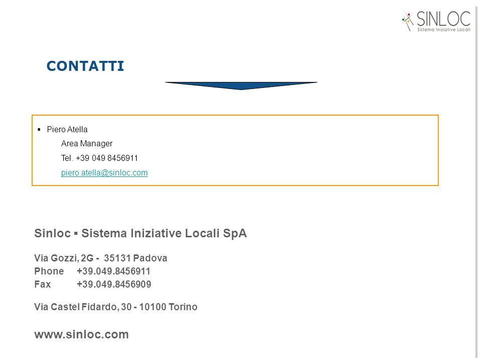 Copyright 2012▪ Sinloc Sistema Iniziative Locali SpA 21 Sinloc ▪ Sistema Iniziative Locali SpA Via Gozzi, 2G - 35131 Padova Phone+39.049.8456911 Fax+39.049.8456909 Via Castel Fidardo, 30 - 10100 Torino www.sinloc.com  Piero Atella Area Manager Tel.