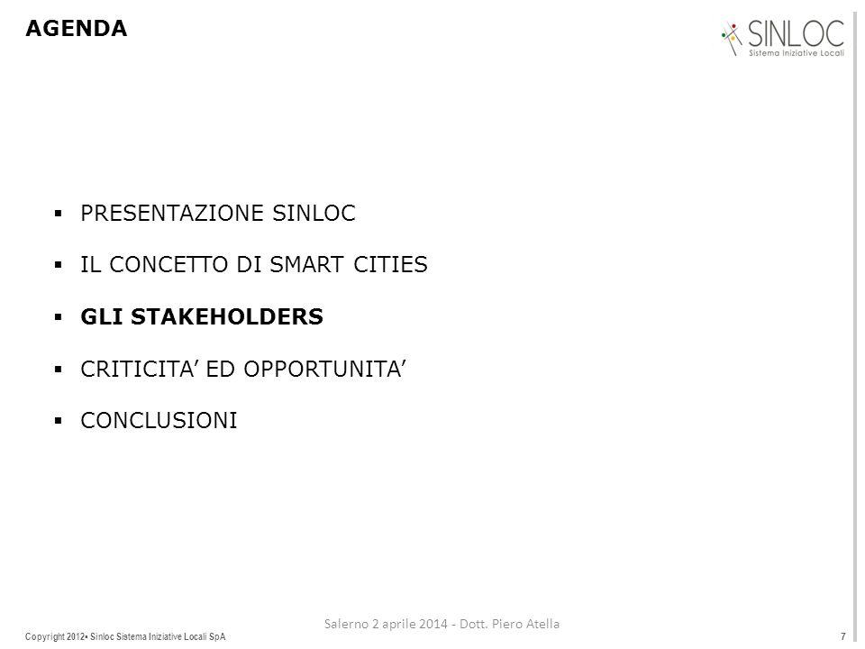Copyright 2012▪ Sinloc Sistema Iniziative Locali SpA AGENDA  PRESENTAZIONE SINLOC  IL CONCETTO DI SMART CITIES  GLI STAKEHOLDERS  CRITICITA' ED OPPORTUNITA'  CONCLUSIONI 7 Salerno 2 aprile 2014 - Dott.
