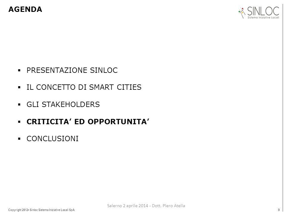 Copyright 2012▪ Sinloc Sistema Iniziative Locali SpA AGENDA  PRESENTAZIONE SINLOC  IL CONCETTO DI SMART CITIES  GLI STAKEHOLDERS  CRITICITA' ED OPPORTUNITA'  CONCLUSIONI 9 Salerno 2 aprile 2014 - Dott.