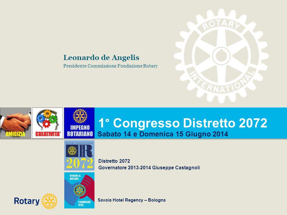 1° Congresso Distretto 2072 Sabato 14 e Domenica 15 Giugno 2014 Distretto 2072 Governatore 2013-2014 Giuseppe Castagnoli Leonardo de Angelis President