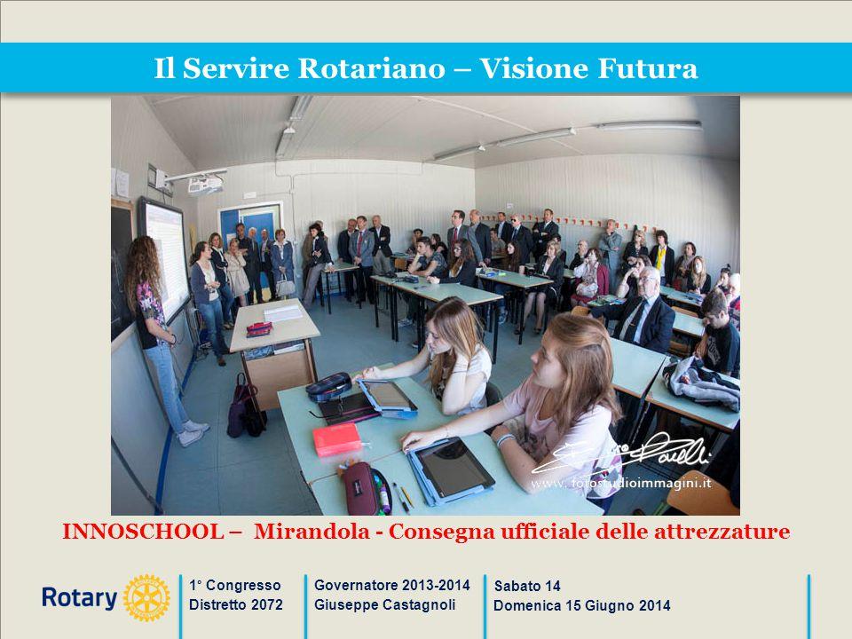 Il Servire Rotariano – Visione Futura 1° Congresso Distretto 2072 Governatore 2013-2014 Giuseppe Castagnoli Sabato 14 Domenica 15 Giugno 2014 INNOSCHO