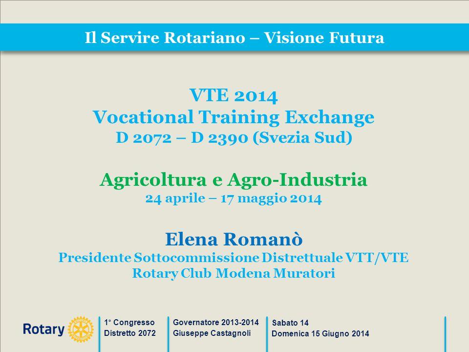 Il Servire Rotariano – Visione Futura 1° Congresso Distretto 2072 Governatore 2013-2014 Giuseppe Castagnoli Sabato 14 Domenica 15 Giugno 2014 VTE 2014