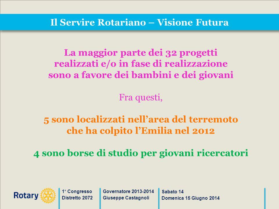 Il Servire Rotariano – Visione Futura 1° Congresso Distretto 2072 Governatore 2013-2014 Giuseppe Castagnoli Sabato 14 Domenica 15 Giugno 2014 La maggi