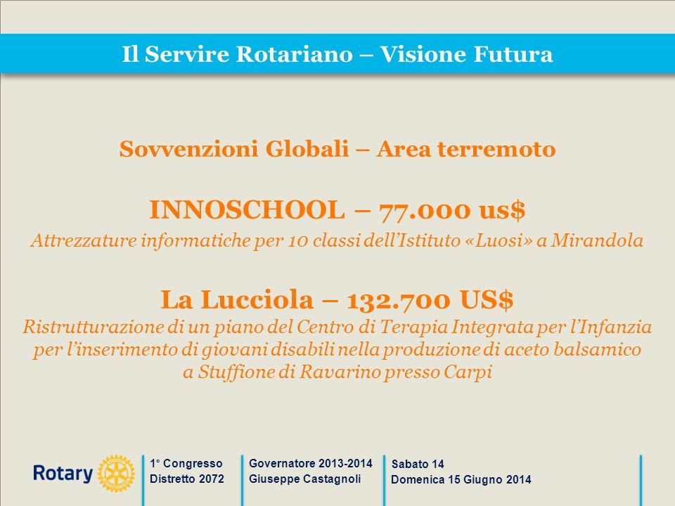 Il Servire Rotariano – Visione Futura 1° Congresso Distretto 2072 Governatore 2013-2014 Giuseppe Castagnoli Sabato 14 Domenica 15 Giugno 2014 Sovvenzi