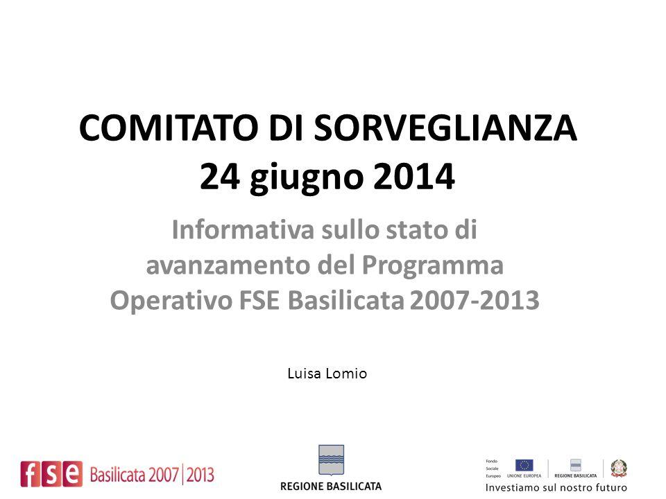 COMITATO DI SORVEGLIANZA 24 giugno 2014 Informativa sullo stato di avanzamento del Programma Operativo FSE Basilicata 2007-2013 Luisa Lomio