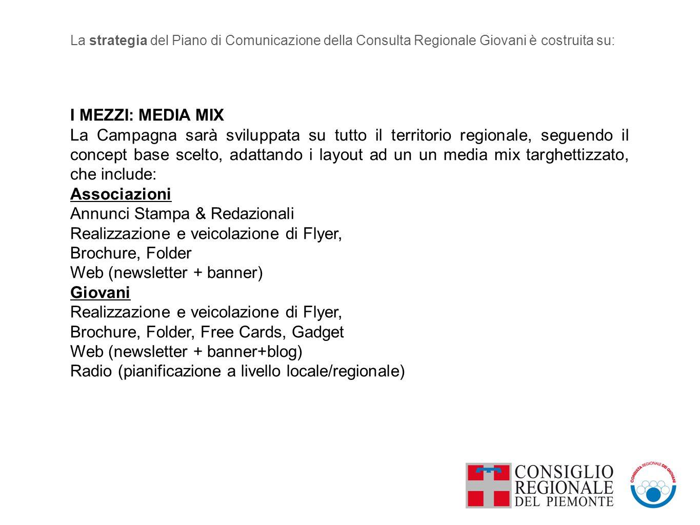 I MEZZI: MEDIA MIX La Campagna sarà sviluppata su tutto il territorio regionale, seguendo il concept base scelto, adattando i layout ad un un media mix targhettizzato, che include: Associazioni Annunci Stampa & Redazionali Realizzazione e veicolazione di Flyer, Brochure, Folder Web (newsletter + banner) Giovani Realizzazione e veicolazione di Flyer, Brochure, Folder, Free Cards, Gadget Web (newsletter + banner+blog) Radio (pianificazione a livello locale/regionale) La strategia del Piano di Comunicazione della Consulta Regionale Giovani è costruita su: