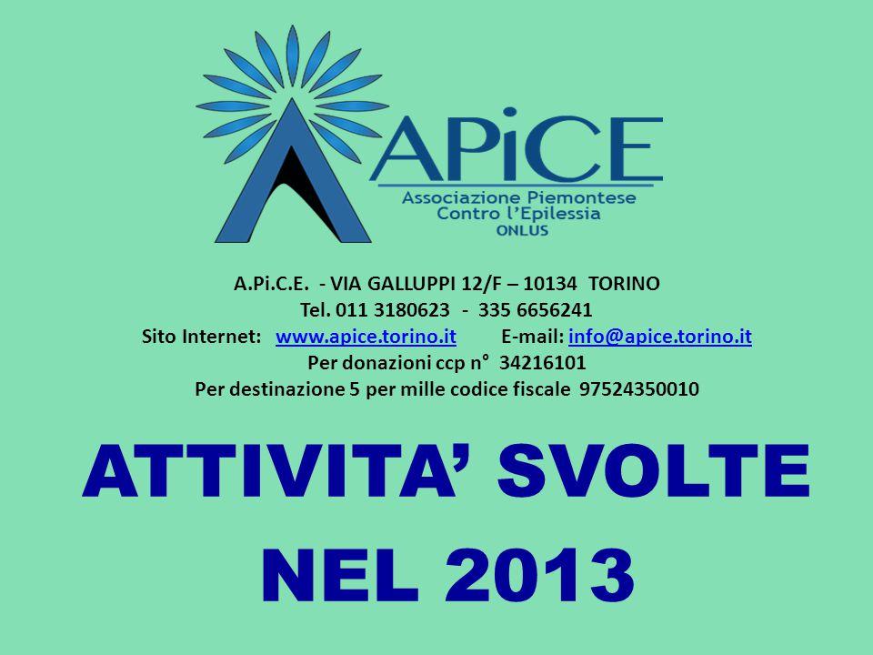 ATTIVITA' SVOLTE NEL 2013 A.Pi.C.E. - VIA GALLUPPI 12/F – 10134 TORINO Tel. 011 3180623 - 335 6656241 Sito Internet: www.apice.torino.it E-mail: info@