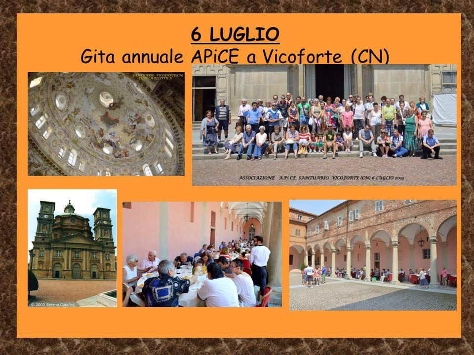 6 LUGLIO Gita annuale APiCE a Vicoforte (CN)