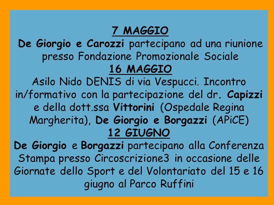 7 MAGGIO De Giorgio e Carozzi partecipano ad una riunione presso Fondazione Promozionale Sociale 16 MAGGIO Asilo Nido DENIS di via Vespucci. Incontro