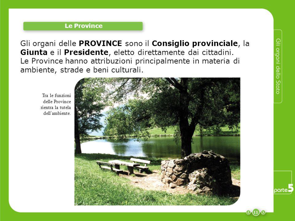 11 Le Province Gli organi delle PROVINCE sono il Consiglio provinciale, la Giunta e il Presidente, eletto direttamente dai cittadini. Le Province hann