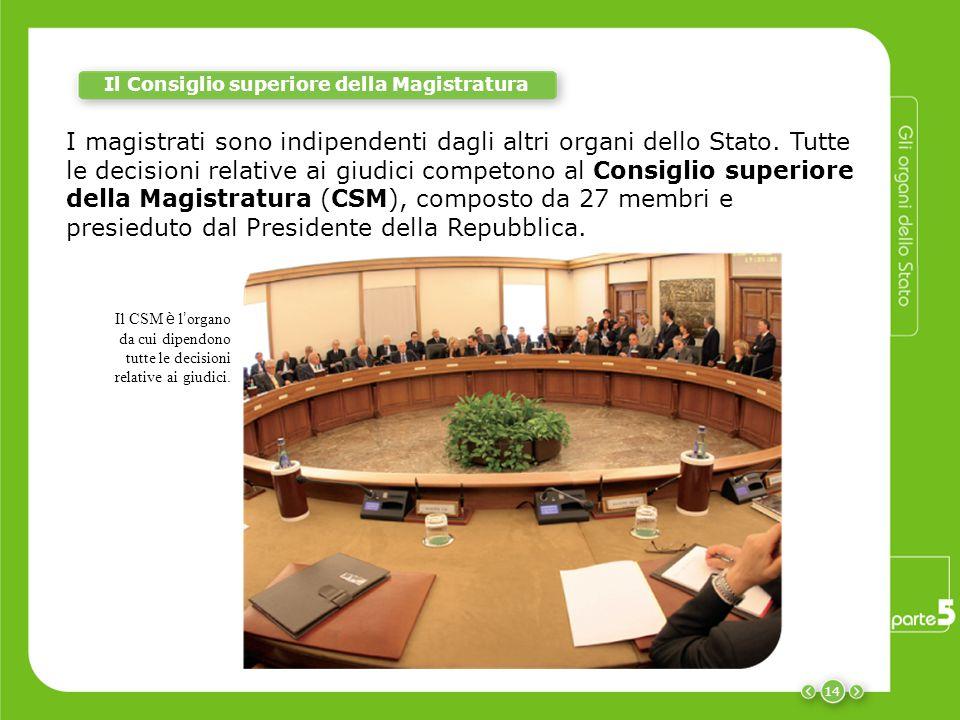 14 I magistrati sono indipendenti dagli altri organi dello Stato. Tutte le decisioni relative ai giudici competono al Consiglio superiore della Magist