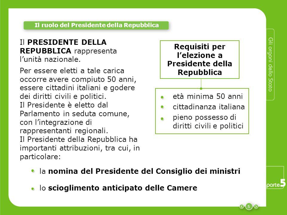 5 Il ruolo del Presidente della Repubblica Il PRESIDENTE DELLA REPUBBLICA rappresenta l'unità nazionale. Per essere eletti a tale carica occorre avere
