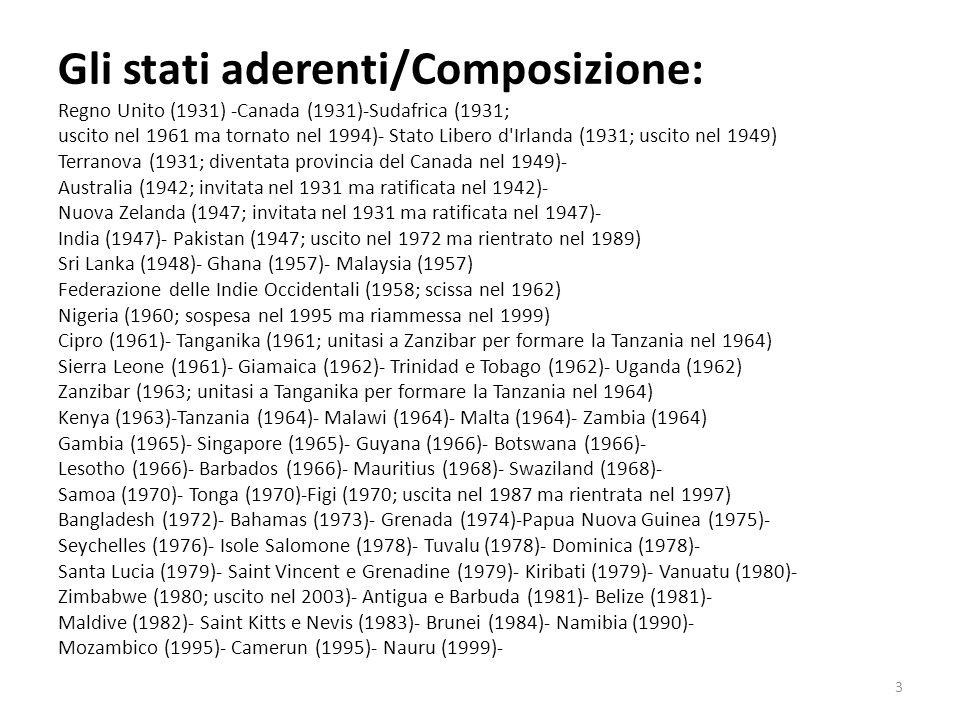 Gli stati aderenti/Composizione: Regno Unito (1931) -Canada (1931)-Sudafrica (1931; uscito nel 1961 ma tornato nel 1994)- Stato Libero d'Irlanda (1931