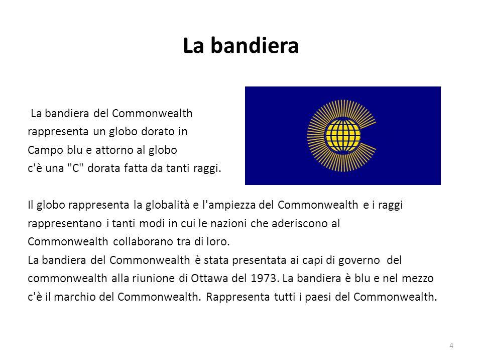 La bandiera La bandiera del Commonwealth rappresenta un globo dorato in Campo blu e attorno al globo c'è una