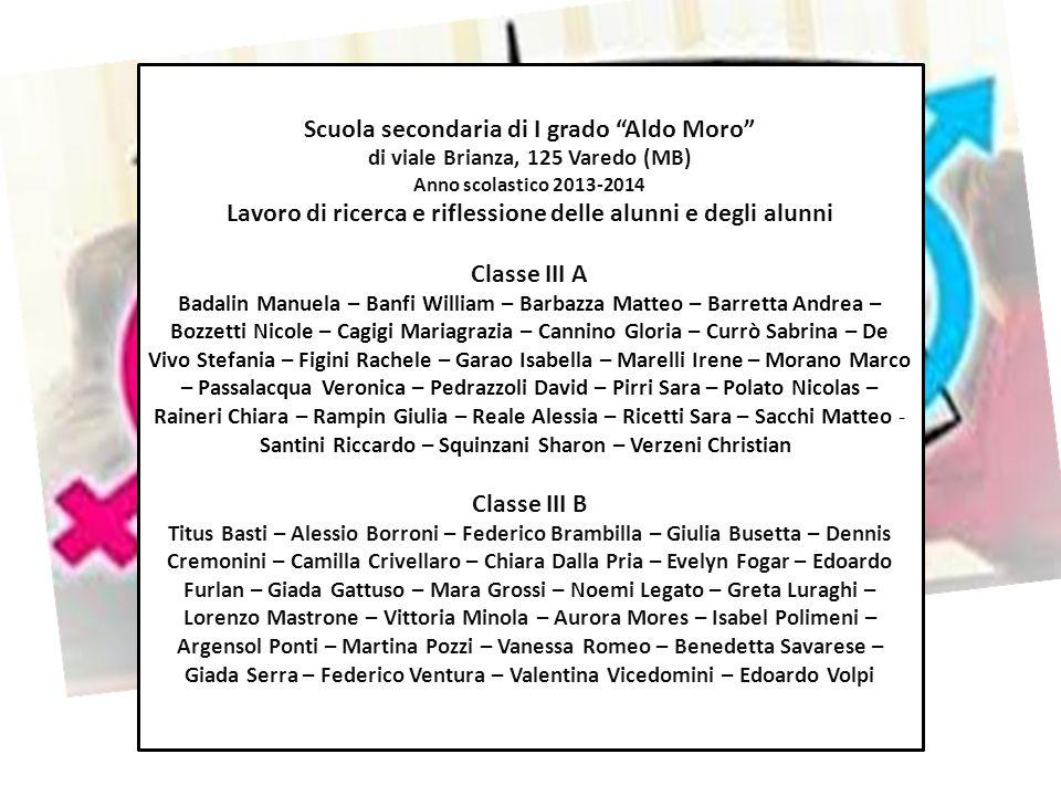 """Scuola secondaria di I grado """"Aldo Moro"""" di viale Brianza, 125 Varedo (MB) Anno scolastico 2013-2014 Lavoro di ricerca e riflessione delle alunni e de"""