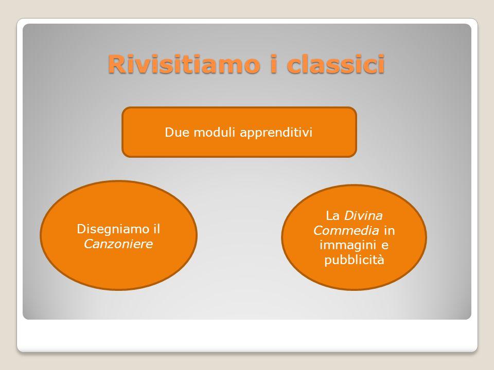 Rivisitiamo i classici Due moduli apprenditivi Disegniamo il Canzoniere La Divina Commedia in immagini e pubblicità
