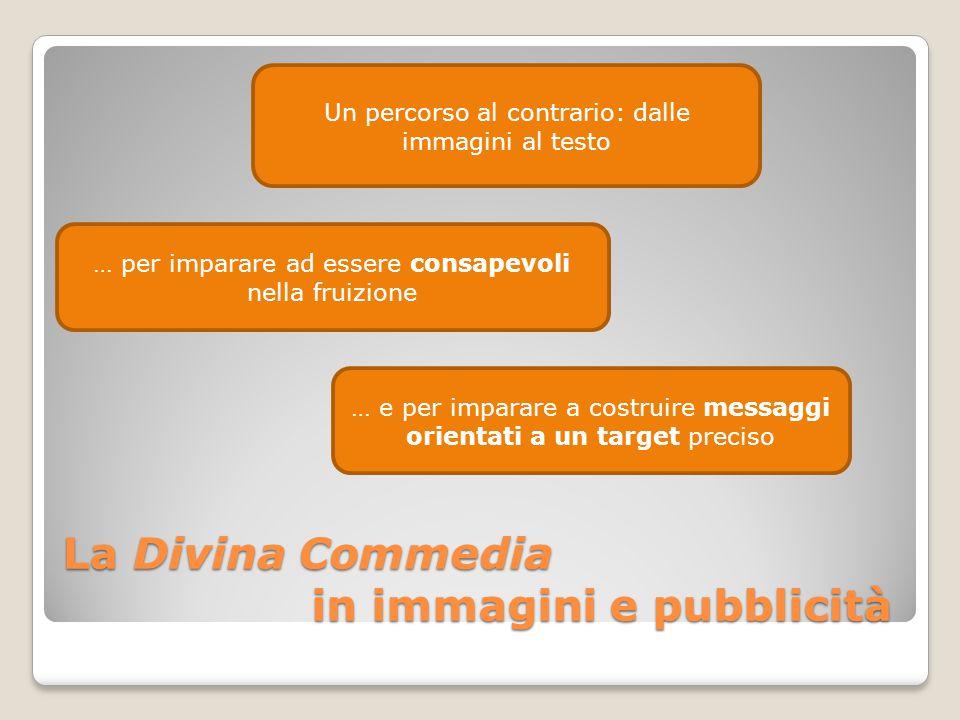 La Divina Commedia in immagini e pubblicità Un percorso al contrario: dalle immagini al testo … per imparare ad essere consapevoli nella fruizione … e