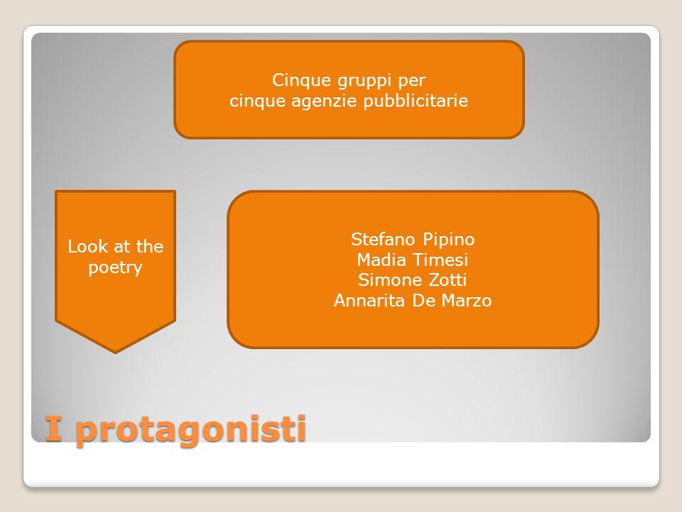 I protagonisti Stefano Pipino Madia Timesi Simone Zotti Annarita De Marzo Cinque gruppi per cinque agenzie pubblicitarie Look at the poetry