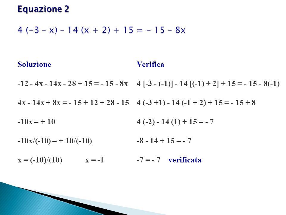 Soluzione -12 - 4x - 14x - 28 + 15 = - 15 - 8x 4x - 14x + 8x = - 15 + 12 + 28 - 15 -10x = + 10 -10x/(-10) = + 10/(-10) x = (-10)/(10) x = -1 Verifica