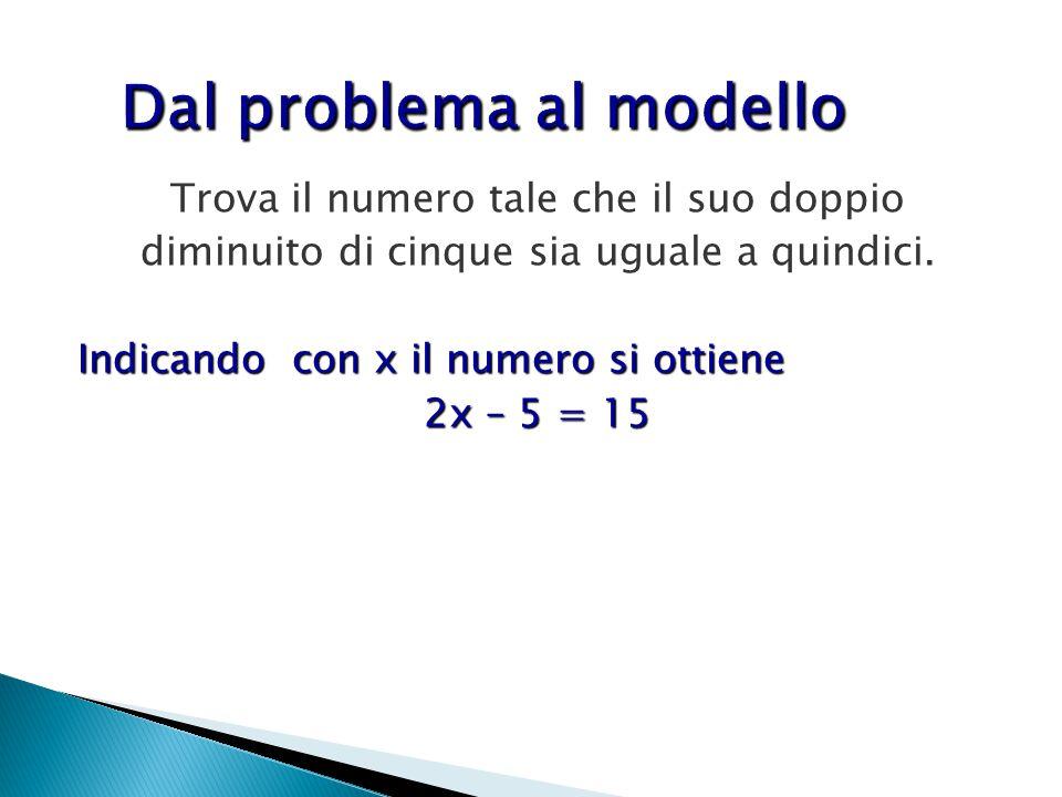 Trova il numero tale che il suo doppio diminuito di cinque sia uguale a quindici. Indicando con x il numero si ottiene 2x – 5 = 15