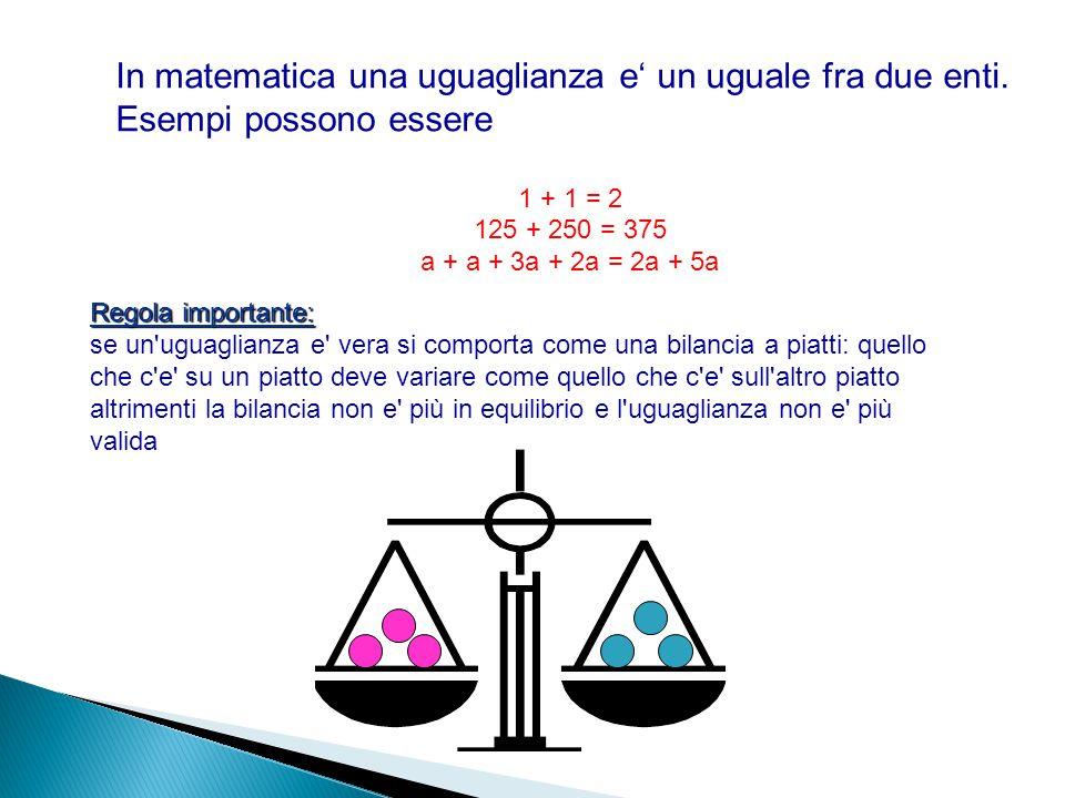 In matematica una uguaglianza e' un uguale fra due enti. Esempi possono essere 1 + 1 = 2 125 + 250 = 375 a + a + 3a + 2a = 2a + 5a Regola importante:
