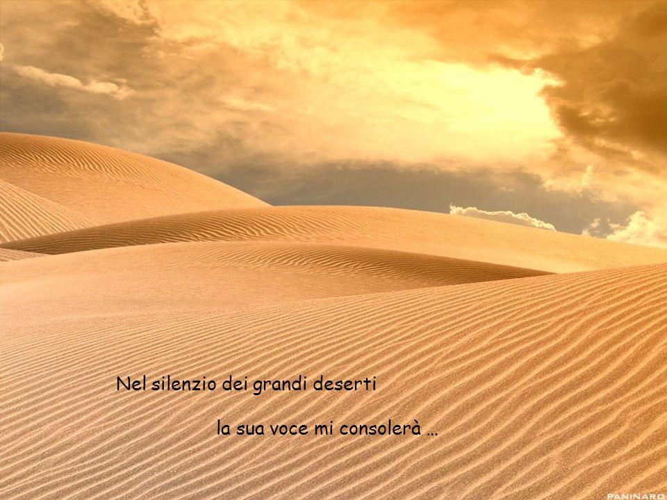 Nel silenzio dei grandi deserti la sua voce mi consolerà …