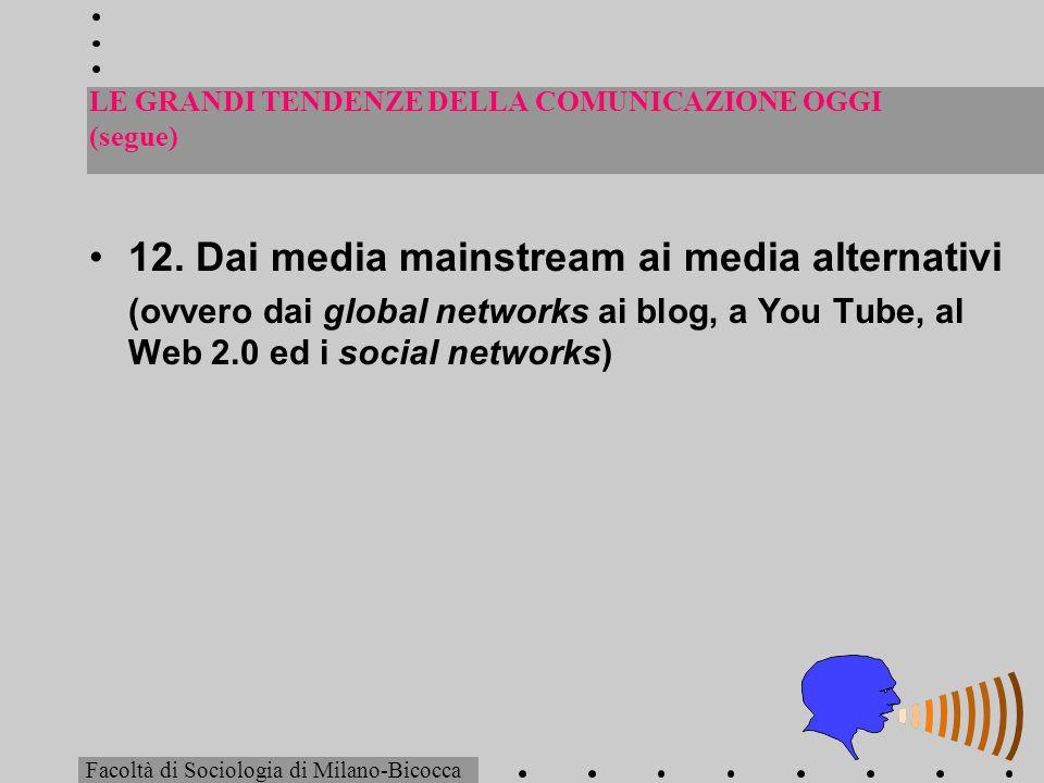 LE GRANDI TENDENZE DELLA COMUNICAZIONE OGGI (segue) 12. Dai media mainstream ai media alternativi (ovvero dai global networks ai blog, a You Tube, al