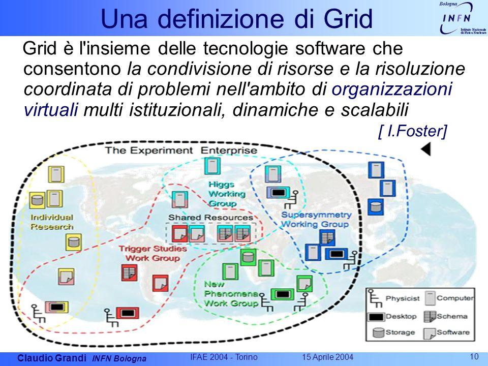 Claudio Grandi INFN Bologna 15 Aprile 2004 IFAE 2004 - Torino 10 Una definizione di Grid Grid è l insieme delle tecnologie software che consentono la condivisione di risorse e la risoluzione coordinata di problemi nell ambito di organizzazioni virtuali multi istituzionali, dinamiche e scalabili [ I.Foster]
