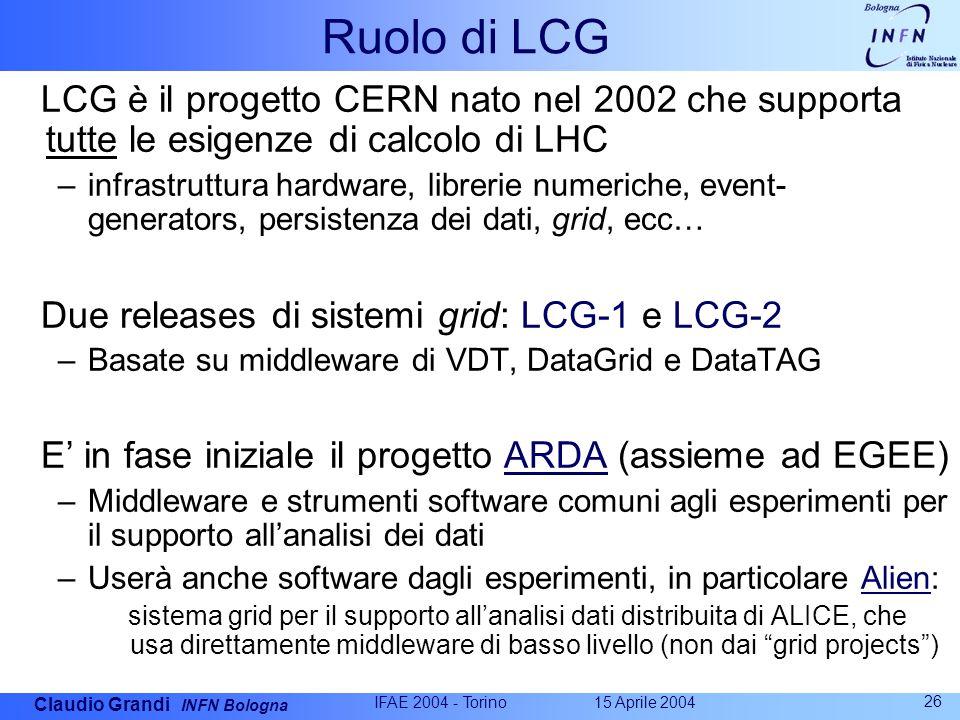 Claudio Grandi INFN Bologna 15 Aprile 2004 IFAE 2004 - Torino 26 Ruolo di LCG LCG è il progetto CERN nato nel 2002 che supporta tutte le esigenze di calcolo di LHC –infrastruttura hardware, librerie numeriche, event- generators, persistenza dei dati, grid, ecc… Due releases di sistemi grid: LCG-1 e LCG-2 –Basate su middleware di VDT, DataGrid e DataTAG E' in fase iniziale il progetto ARDA (assieme ad EGEE) –Middleware e strumenti software comuni agli esperimenti per il supporto all'analisi dei dati –Userà anche software dagli esperimenti, in particolare Alien: sistema grid per il supporto all'analisi dati distribuita di ALICE, che usa direttamente middleware di basso livello (non dai grid projects )