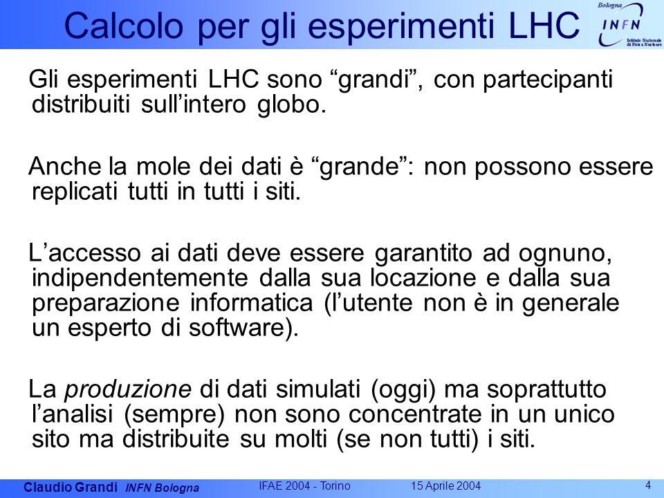 Claudio Grandi INFN Bologna 15 Aprile 2004 IFAE 2004 - Torino 4 Calcolo per gli esperimenti LHC Gli esperimenti LHC sono grandi , con partecipanti distribuiti sull'intero globo.