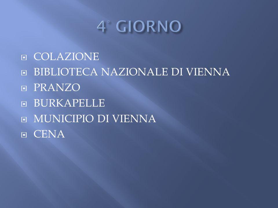  COLAZIONE  BIBLIOTECA NAZIONALE DI VIENNA  PRANZO  BURKAPELLE  MUNICIPIO DI VIENNA  CENA