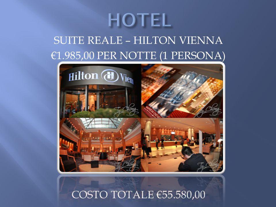 SUITE REALE – HILTON VIENNA €1.985,00 PER NOTTE (1 PERSONA) COSTO TOTALE €55.580,00