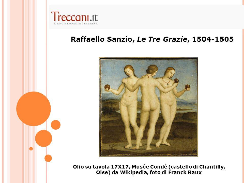 Raffaello Sanzio, Le Tre Grazie, 1504-1505 Olio su tavola 17X17, Musée Condé (castello di Chantilly, Oise) da Wikipedia, foto di Franck Raux
