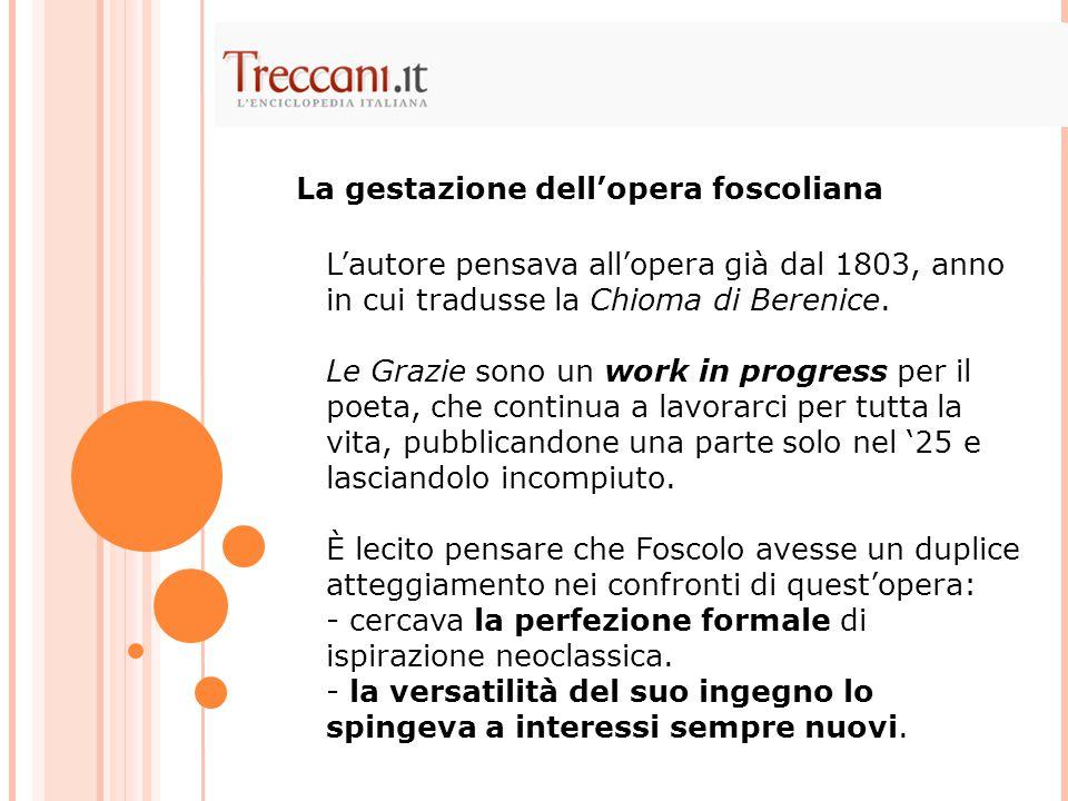 L'autore pensava all'opera già dal 1803, anno in cui tradusse la Chioma di Berenice. Le Grazie sono un work in progress per il poeta, che continua a l