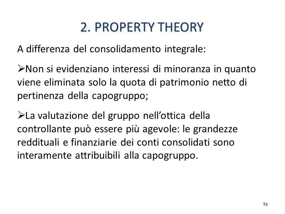 36 2. PROPERTY THEORY 2. PROPERTY THEORY A differenza del consolidamento integrale:  Non si evidenziano interessi di minoranza in quanto viene elimin