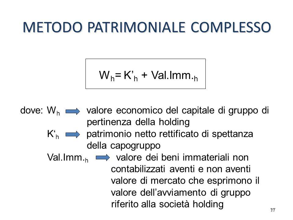 METODO PATRIMONIALE COMPLESSO 37 W h = K' h + Val.Imm. h dove: W h valore economico del capitale di gruppo di pertinenza della holding K' h patrimonio