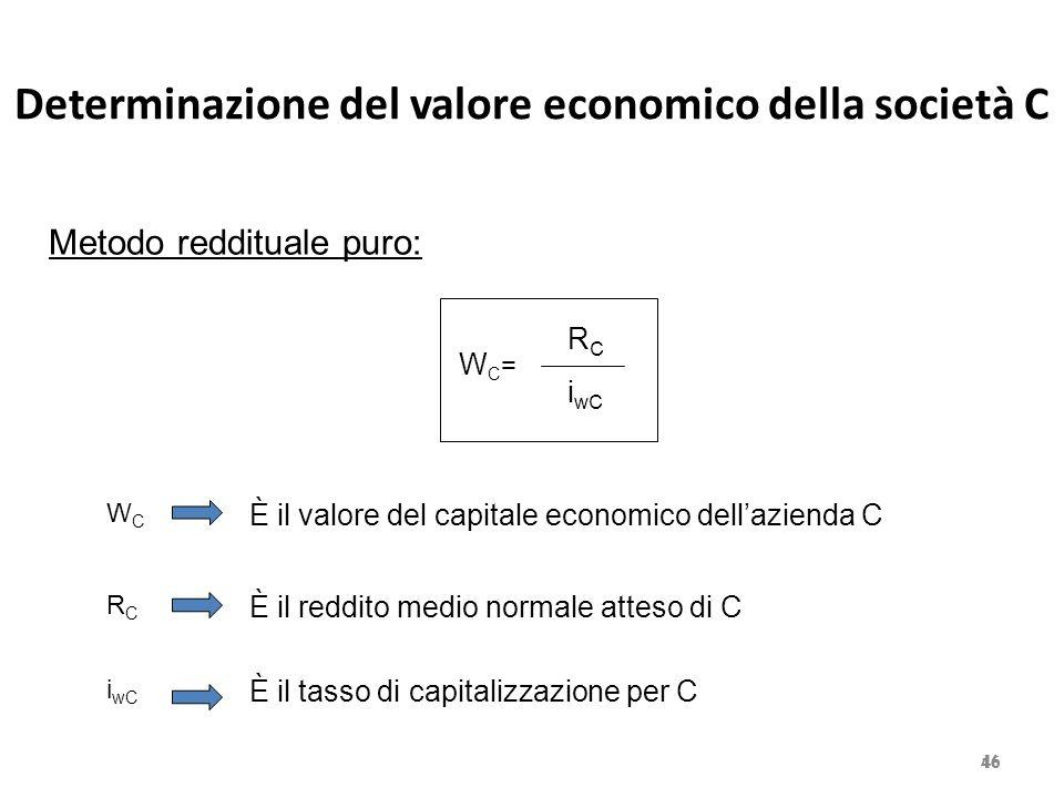 Determinazione del valore economico della società C 46 Metodo reddituale puro: WC=WC= R C i wC WCWC È il valore del capitale economico dell'azienda C