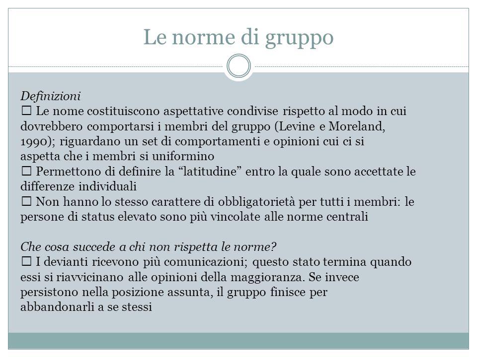 Le norme di gruppo Definizioni Le nome costituiscono aspettative condivise rispetto al modo in cui dovrebbero comportarsi i membri del gruppo (Levine
