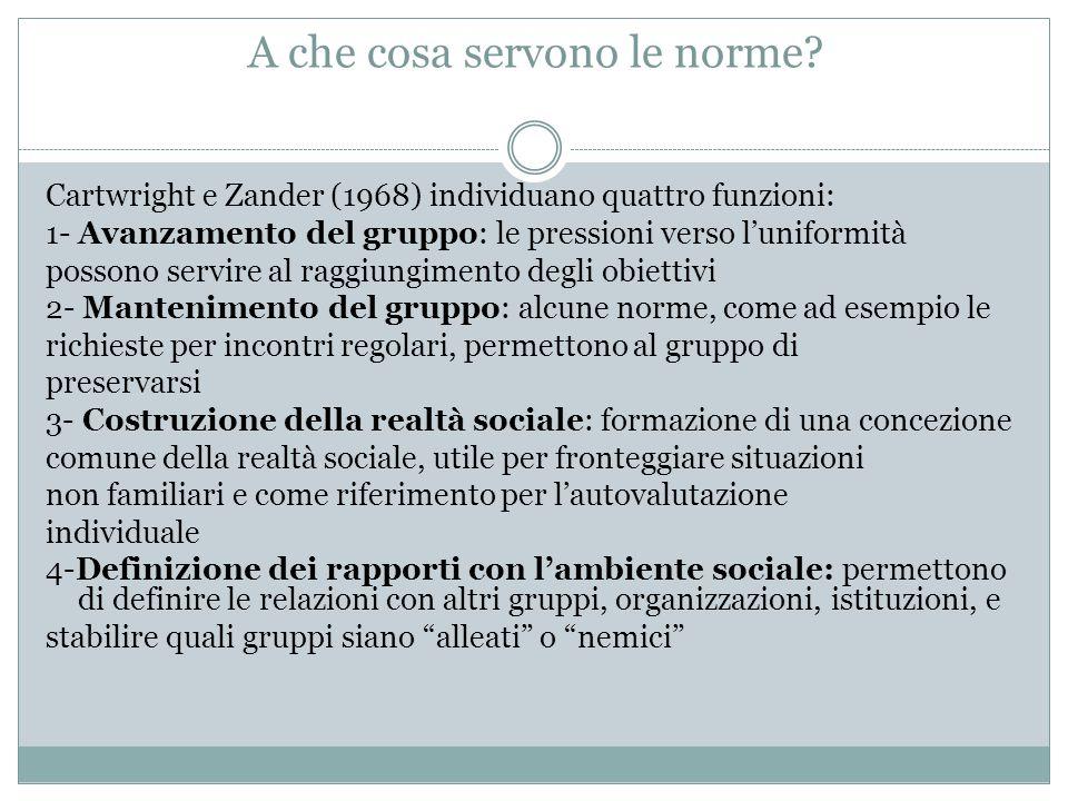 A che cosa servono le norme? Cartwright e Zander (1968) individuano quattro funzioni: 1- Avanzamento del gruppo: le pressioni verso l'uniformità posso