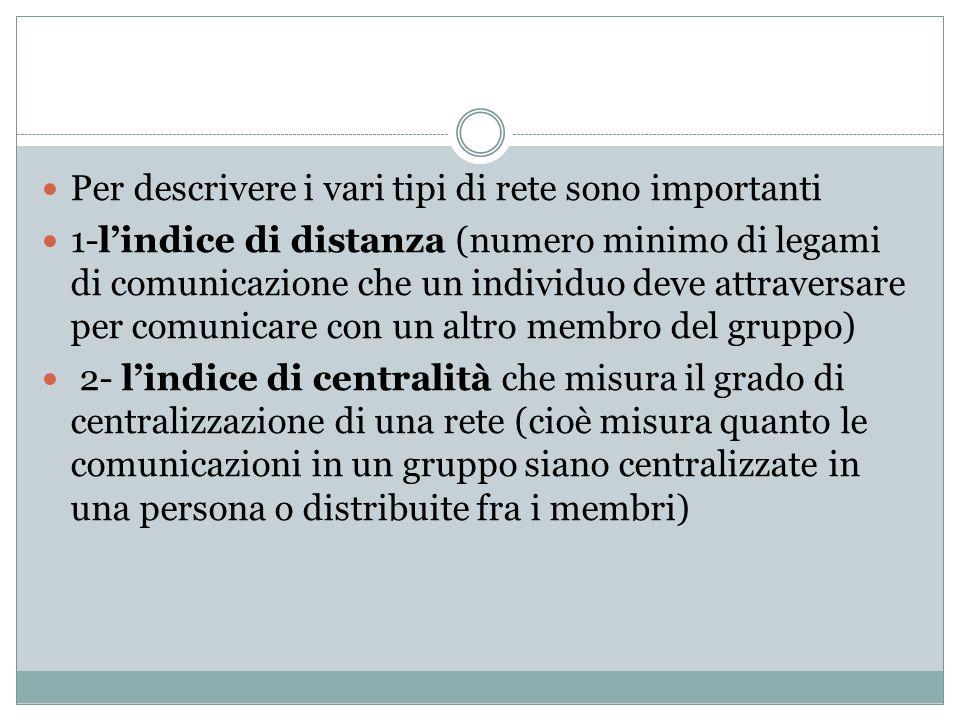 Per descrivere i vari tipi di rete sono importanti 1-l'indice di distanza (numero minimo di legami di comunicazione che un individuo deve attraversare