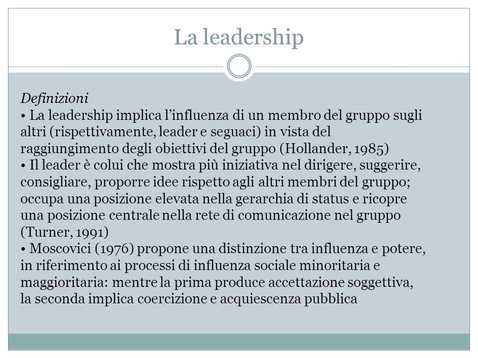 La leadership Definizioni La leadership implica l'influenza di un membro del gruppo sugli altri (rispettivamente, leader e seguaci) in vista del raggi