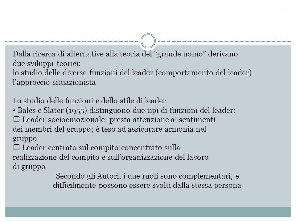 """Dalla ricerca di alternative alla teoria del """"grande uomo"""" derivano due sviluppi teorici: lo studio delle diverse funzioni del leader (comportamento d"""