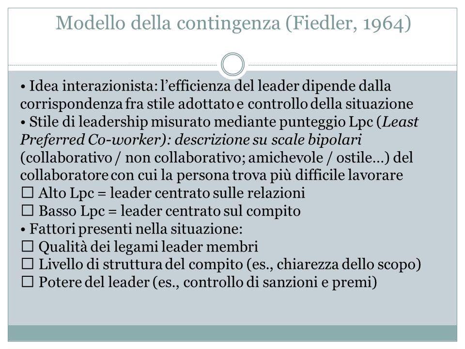 Modello della contingenza (Fiedler, 1964) Idea interazionista: l'efficienza del leader dipende dalla corrispondenza fra stile adottato e controllo del