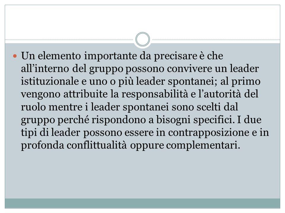 Un elemento importante da precisare è che all'interno del gruppo possono convivere un leader istituzionale e uno o più leader spontanei; al primo veng