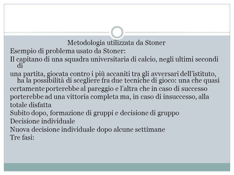 Metodologia utilizzata da Stoner Esempio di problema usato da Stoner: Il capitano di una squadra universitaria di calcio, negli ultimi secondi di una