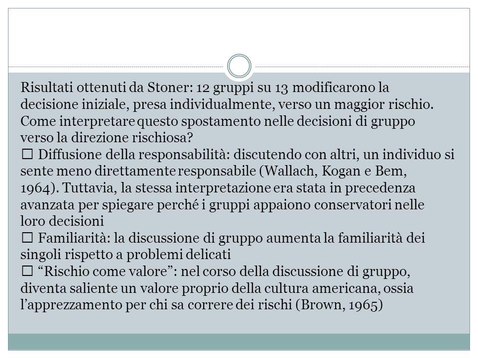 Risultati ottenuti da Stoner: 12 gruppi su 13 modificarono la decisione iniziale, presa individualmente, verso un maggior rischio. Come interpretare q