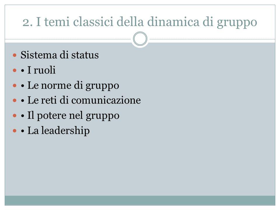 2. I temi classici della dinamica di gruppo Sistema di status I ruoli Le norme di gruppo Le reti di comunicazione Il potere nel gruppo La leadership