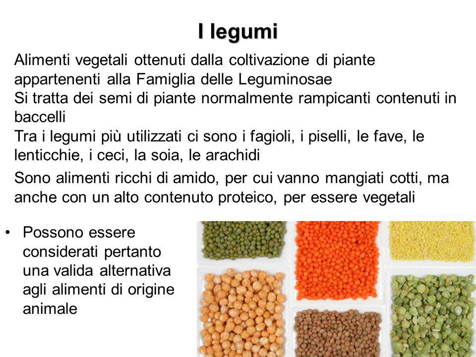 I legumi Possono essere considerati pertanto una valida alternativa agli alimenti di origine animale Alimenti vegetali ottenuti dalla coltivazione di