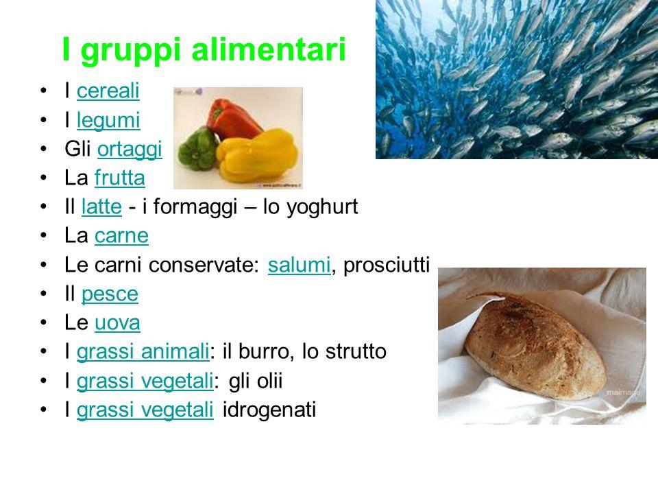 Salmone fresco –Edibile al 65% di cui acqua (68%), proteine (18,4%), lipidi (12%), colesterolo (35 mg), zuccheri solubili (1%), fibre totali 0% –Energia : 185 kcal / 100 g –Sali minerali : Na (98 mg), K (310 mg), Fe (0,7 mg), Ca (27 mg), P (280 mg) –Vitamine : tiamina (0,2 mg), riboflavina (0,15 mg), niacina (7 mg), A (13  g), C (tracce) Tonno fresco e sottolio –Edibile al 90 - 100% di cui acqua (61,5 - 62,3%), proteine (21,5- 25,2%), lipidi (8,1 - 10,1%), colesterolo (70 - 65 mg), zuccheri solubili (0,1 - 0%), fibre totali 0 - 0% –Energia : 159 – 192 kcal / 100 g –Sali minerali : Na (43 - 316 mg), K (301 mg), Fe (1,3 – 1,7 mg), Ca (38 - 7 mg), P (264 - 205 mg), Mg (26 mg), Se (112  g) –Vitamine : tiamina (0,2 – 0,04 mg), riboflavina (0,12 – 0,11 mg), niacina (8,5 – 10,4 mg), A (450 - 14  g), C (tracce - 0) Tabelle alimentari latticini